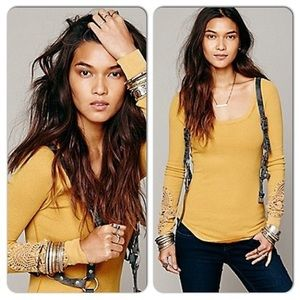 Free People yellow synergy thermal cuff
